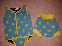 Neoprene baby vest and swim nappy
