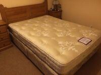 £100 Vispring double mattress herald supreme 150 x 200cm handmade, divan bed,base & wooden headboard