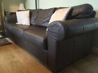 Ikea Brown Ektorp Leather 3-Seater Sofa