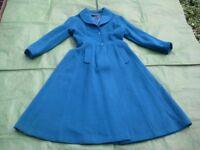Vintage Blue Full-Length Ladies Coat - 80% Wool, 20% Polyester