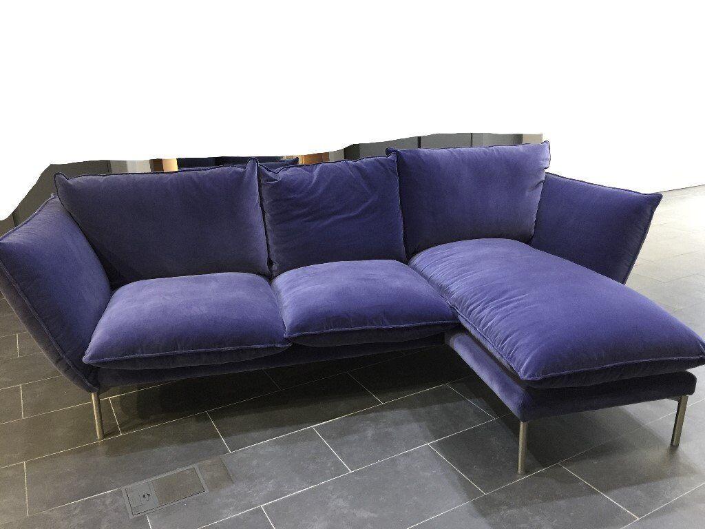 Chaise End Sofa Corner Sofa Luxurious Blue Velvet A Month Oldex