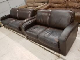 Dark Brown Leather 3 & 2 Seat Sofa