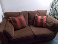 sofa (2 seater) and armchair - brown fabric (manufacturer G Plan)
