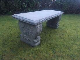 New concrete garden bench