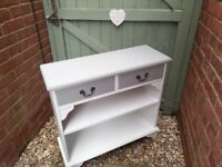 Small painted console table in light grey and white