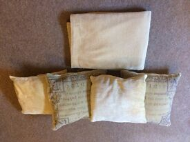M & S gold chenille throw and 4 cushions