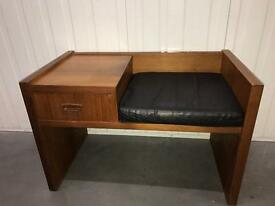 Teak telephone table and seat 60s / 70s