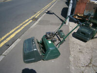 atco petrol motor mower with lawn scarrifier / moss remover tool in yeovil