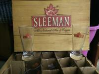Sleeman Glasses and wooden crate