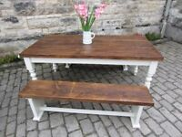 RUSTIC PLANK 6 x 3 FARMHOUSE TABLE and 2 BENCHES solid wood hand made and in stock