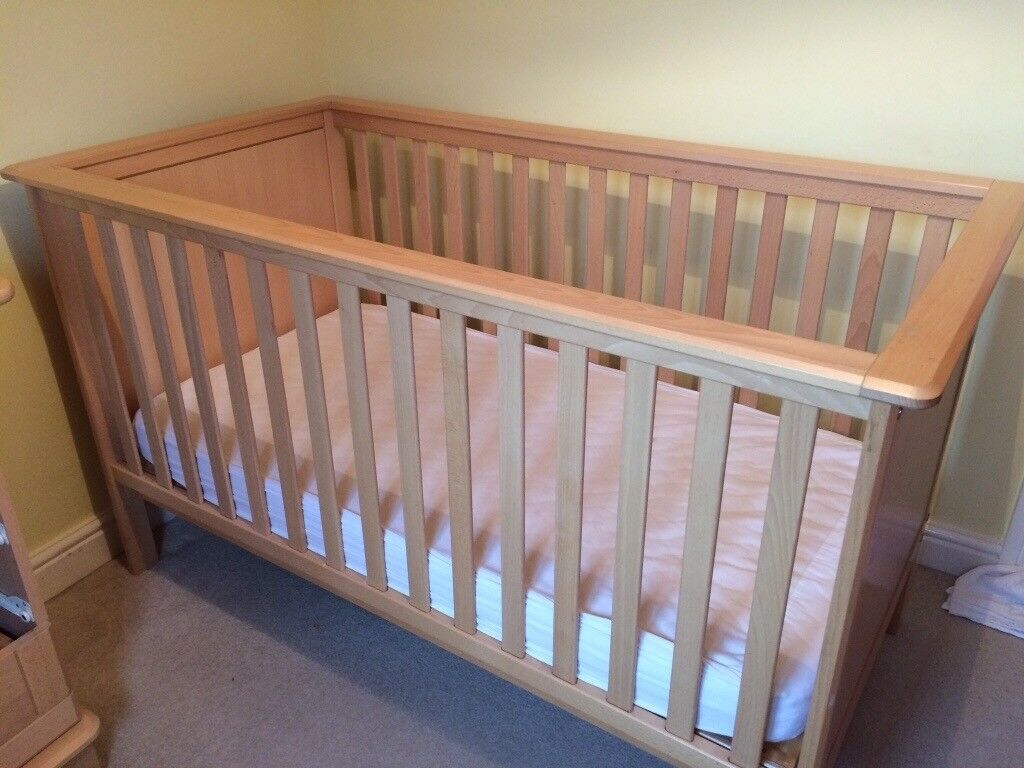Nursery furniture set - cotbed, wardrobe, drawers with changing top (not shown). Excellent condition
