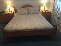 Solid pine king size (5ft) bed frame. Optional free mattress.