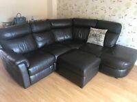 Brown leather reclining corner sofa