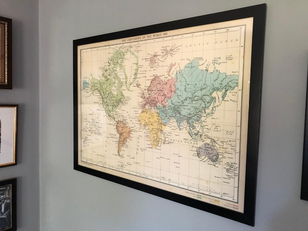 Vintage style world map in black frame in cottingham east vintage style world map in black frame gumiabroncs Images