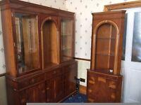 Vintage Reproduction Ornate Yew veneer Display Cabinet/Matching Corner Unit