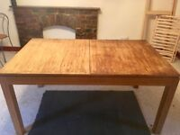 Solid Light Brown Wooden Timber Extendable Dining Table