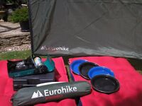 Camping Equipment: Eurohike Windshield, Portable Cooker, Airbeds and Enamel Plates