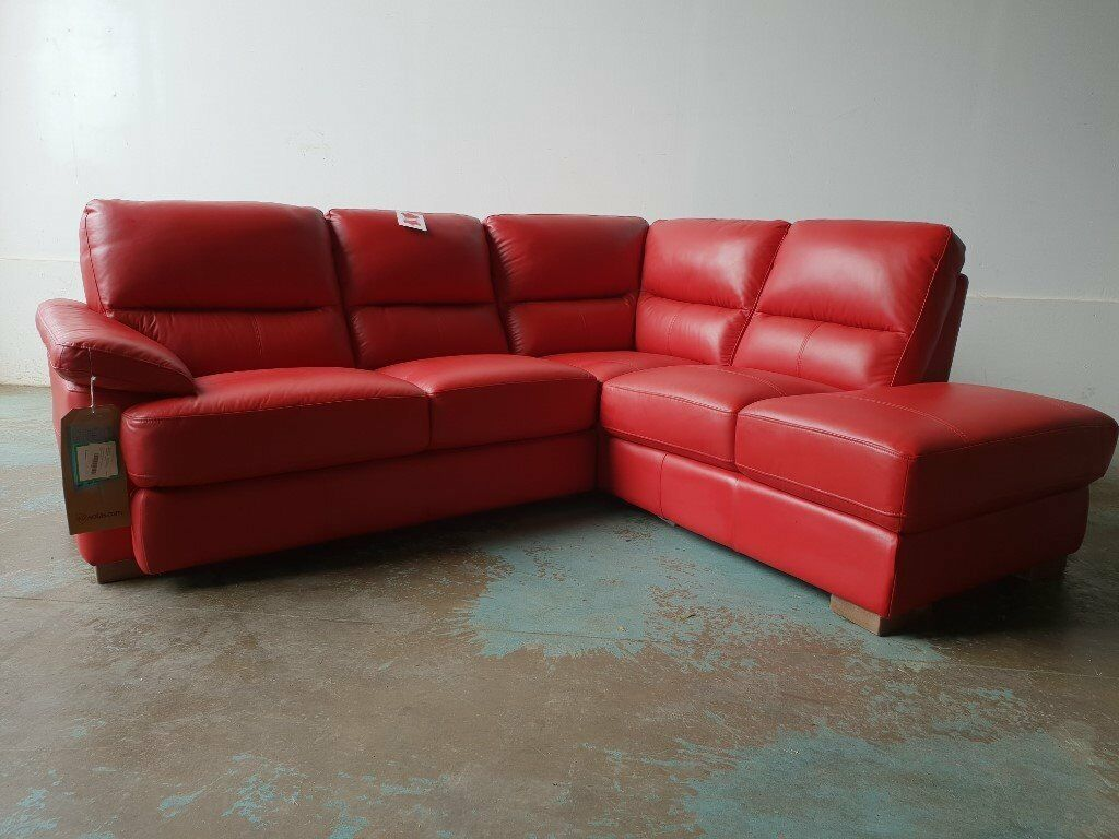 Fabb Sofas Axle Red Leather Corner Suite Brand New Ex Display Sofa Still With Tags Deliver