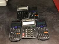 3 scientific and 2 normal calculators.