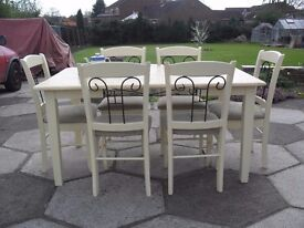 Shabby Chic Solid Wood Farmhouse Table and 6 chairs In F&B Cream 67 Recovered In JOHN LEWIS material