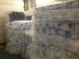 Brand-new, double bed, complete mattress & divan base. Bargain.