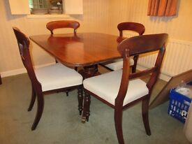 Antique Victorian Tilt-Top Table and Dinning Room Chairs (4)
