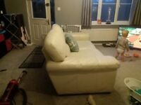 3 seater cream leather deep large sofa with matching arm chair great condition need gone