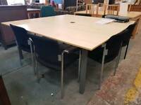 Large boardroom table with 6 stackable chairs