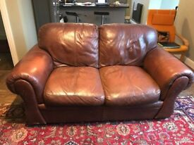 TWO SEAT BROWN LEATHER SOFA - FREE