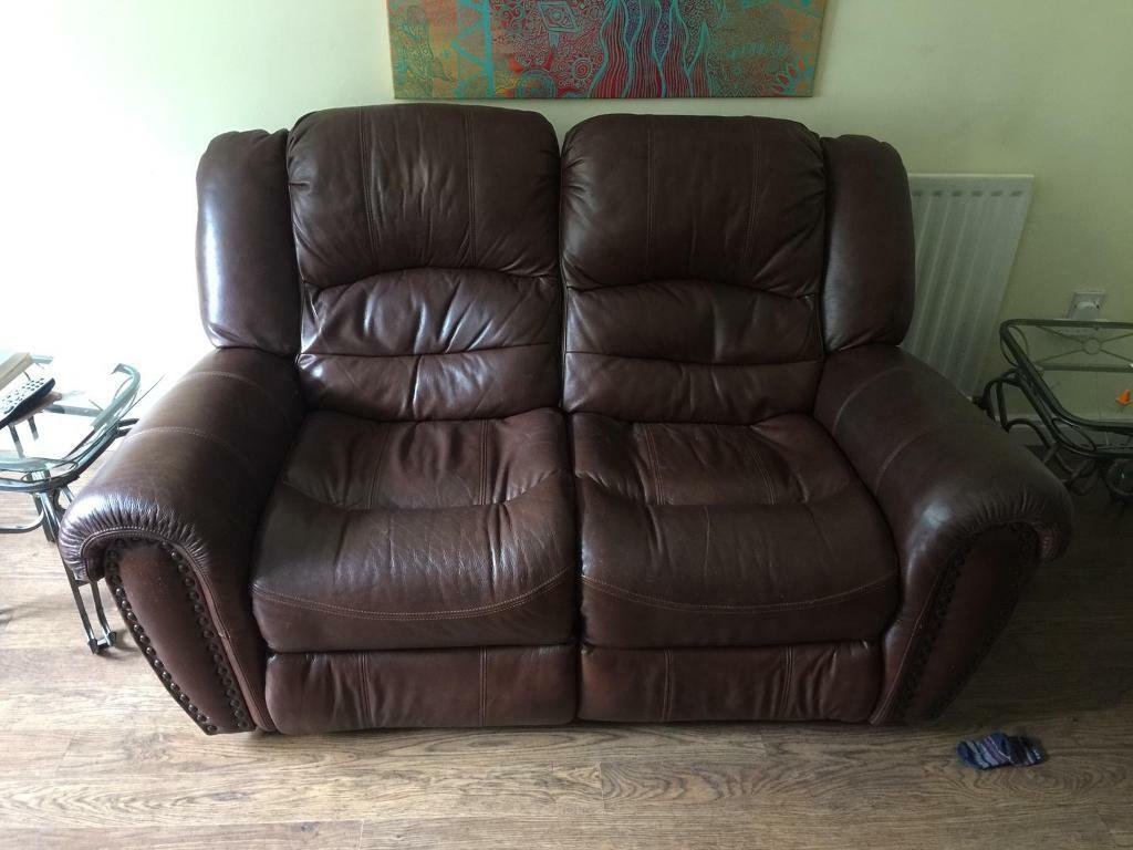 Awesome Brown Leather Reclining Sofa For Sale In Downpatrick County Down Gumtree Bralicious Painted Fabric Chair Ideas Braliciousco