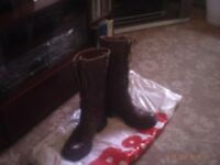 BROWN LEATHER BOOTS FOR FEMALE.36[ 4 ].