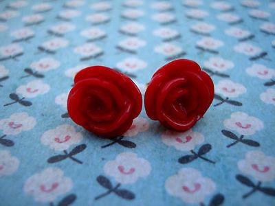 FUNKY RED ROSE EARRINGS KITSCH CUTE RETRO EMO VINTAGE FLOWER 50s ROCKABILLY BOHO