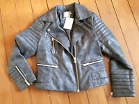 Ladies ASOS Curve Washed Finished PU Biker Jacket Size 14 'BRAND NEW' - great price