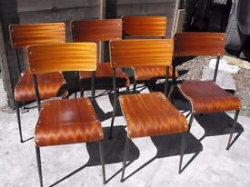 VINTAGE SCHOOL CHAIRS - SET 6