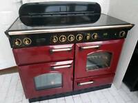 Rangemaster Classic 110 All Electric Range Cooker 110CM in Cranberry Red and Black