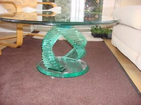 Green Apple Glass Large Oval Coffee Table