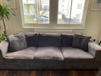 Large brown corduroy 3 seater sofa