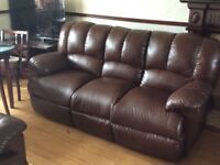 Leather 3 piece suite plus matching recliner armchair
