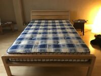 Gorgeous Oak Habitat Double Bed and Mattress for Sale