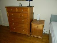 Pine chest of draws and side cabinet