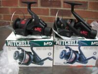 A PAIR OF CLASSIC MITCHELL MD60 FISHING/CARP REELS - FREESPOOL (BAITRUNNER) VIRTUALLY MINT CONDITION