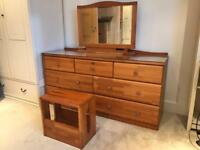 Dressing table chest, mirror, stool