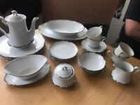 White/Silver China Dining Set