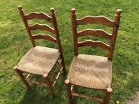 Dining room chairs wicker & pine