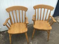 2 solid wood farmhouse carver chairs