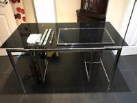 Black Glass and Chrome Computer Desk - Good condition