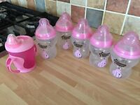 Tommee tippee 5pack pink milk bottles baby brand new and water beaker