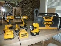 De Walt Radio and two 18V heavy duty Drills and De Walt Torch with batteries
