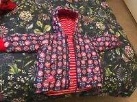 Jojo maman Bebe girls Reversible Waterproof Fleece Lined Rain Jacket age 2-3 years