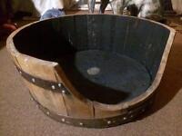 Solid Oak | Recycled Whiskey Barrel | Retro Vintage | Dog Cat Bed